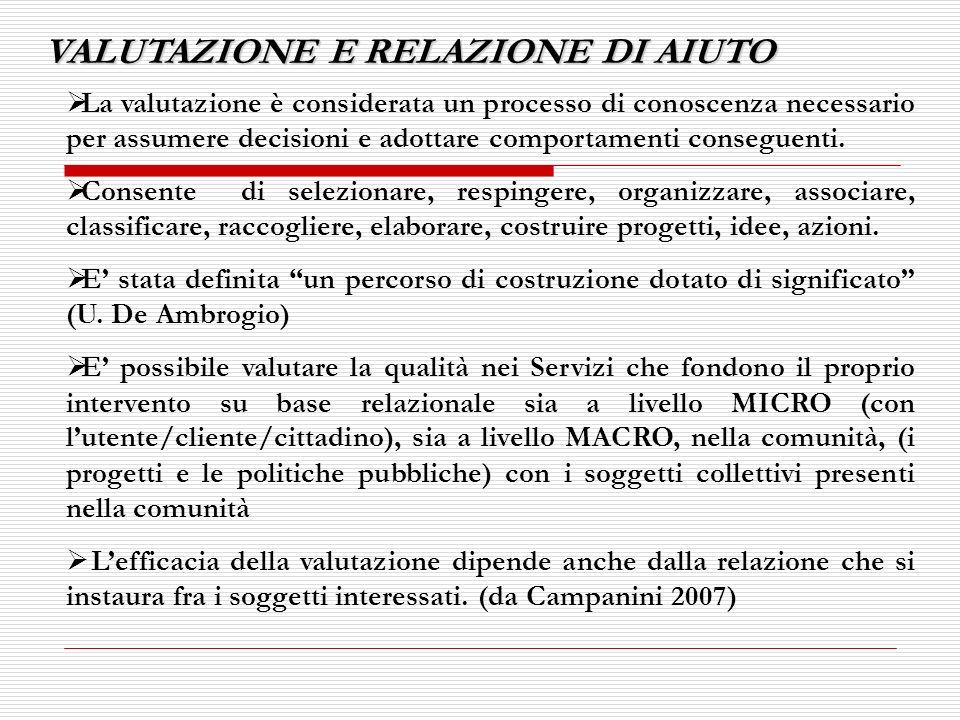 APPROCCI E METODI DI VALUTAZIONE APPLICABILI NEL LAVORO SOCIALE 1.