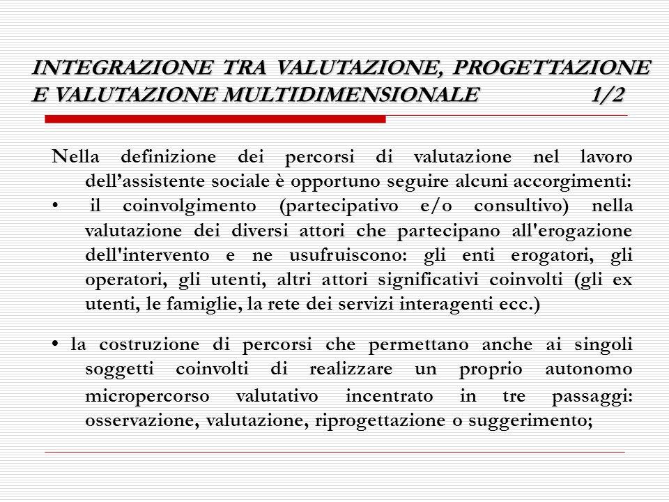INTEGRAZIONE TRA VALUTAZIONE, PROGETTAZIONE E VALUTAZIONE MULTIDIMENSIONALE 1/2 Nella definizione dei percorsi di valutazione nel lavoro dellassistent