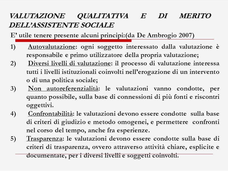 VALUTAZIONE QUALITATIVA E DI MERITO DELLASSISTENTE SOCIALE E utile tenere presente alcuni principi:(da De Ambrogio 2007) 1) Autovalutazione: ogni sogg