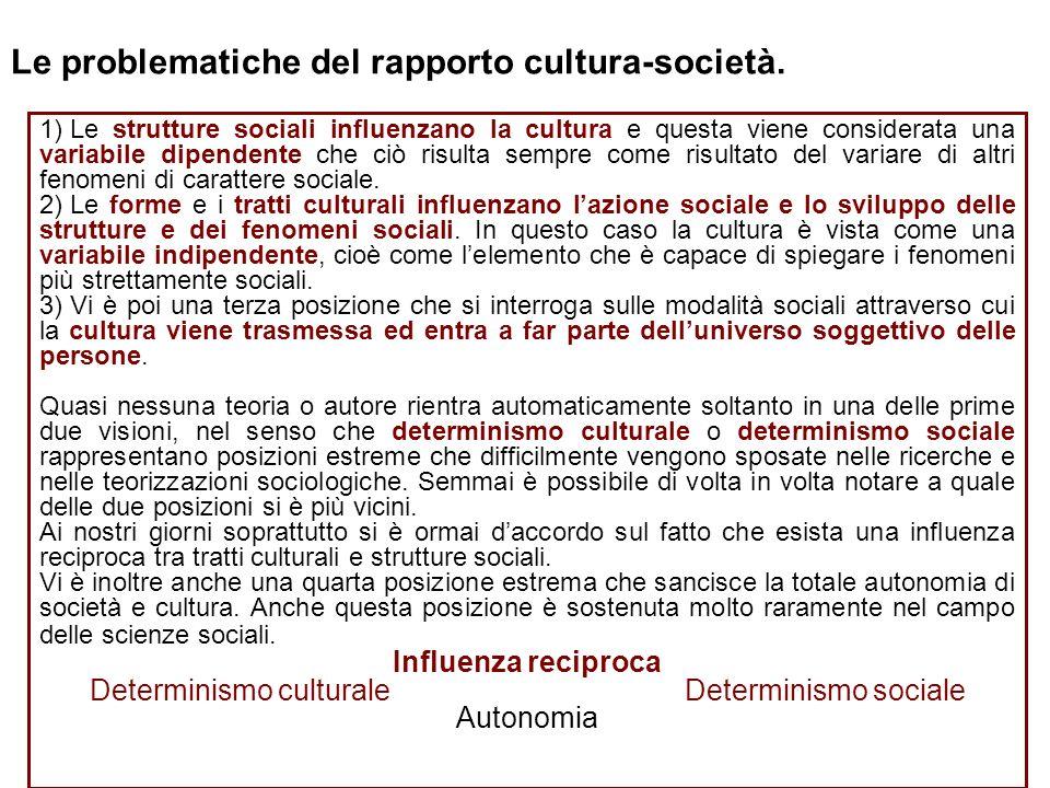 Le problematiche del rapporto cultura-società. 1) Le strutture sociali influenzano la cultura e questa viene considerata una variabile dipendente che
