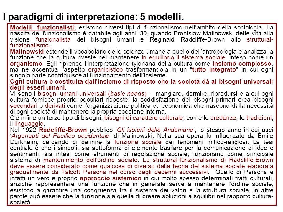 I paradigmi di interpretazione: 5 modelli. Modelli funzionalisti: Modelli funzionalisti: esistono diversi tipi di funzionalismo nellambito della socio