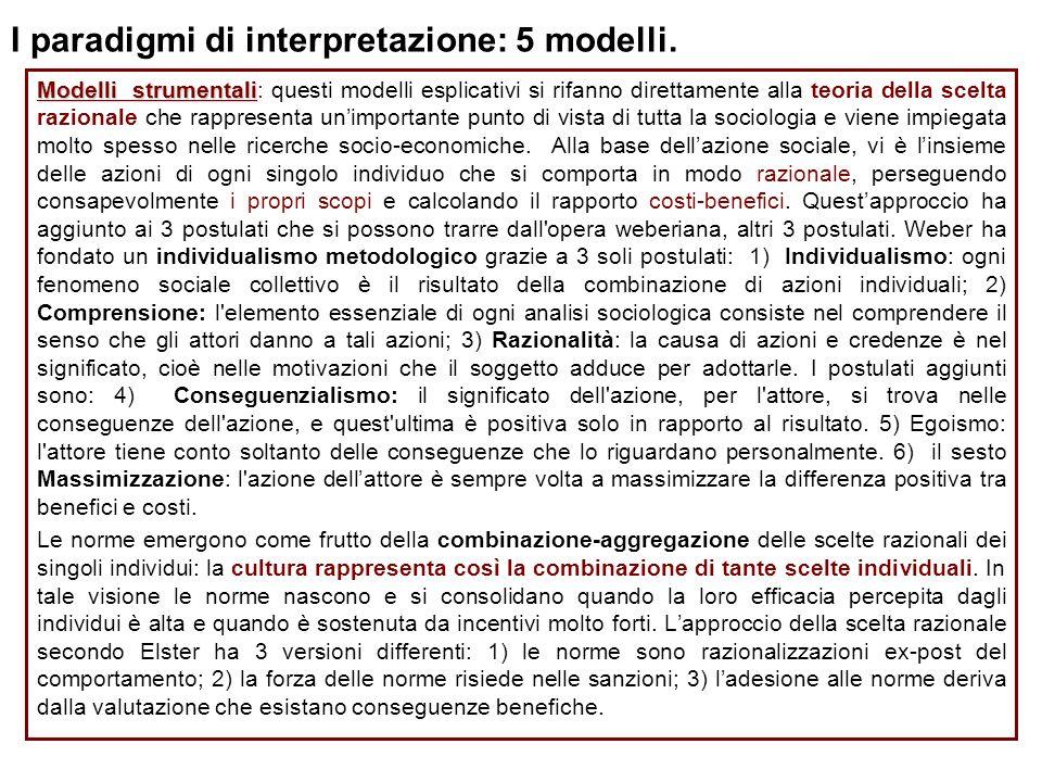 I paradigmi di interpretazione: 5 modelli. Modelli strumentali Modelli strumentali: questi modelli esplicativi si rifanno direttamente alla teoria del