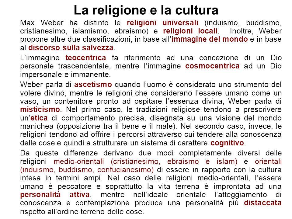 La religione e la cultura Max Weber ha distinto le religioni universali (induismo, buddismo, cristianesimo, islamismo, ebraismo) e religioni locali.