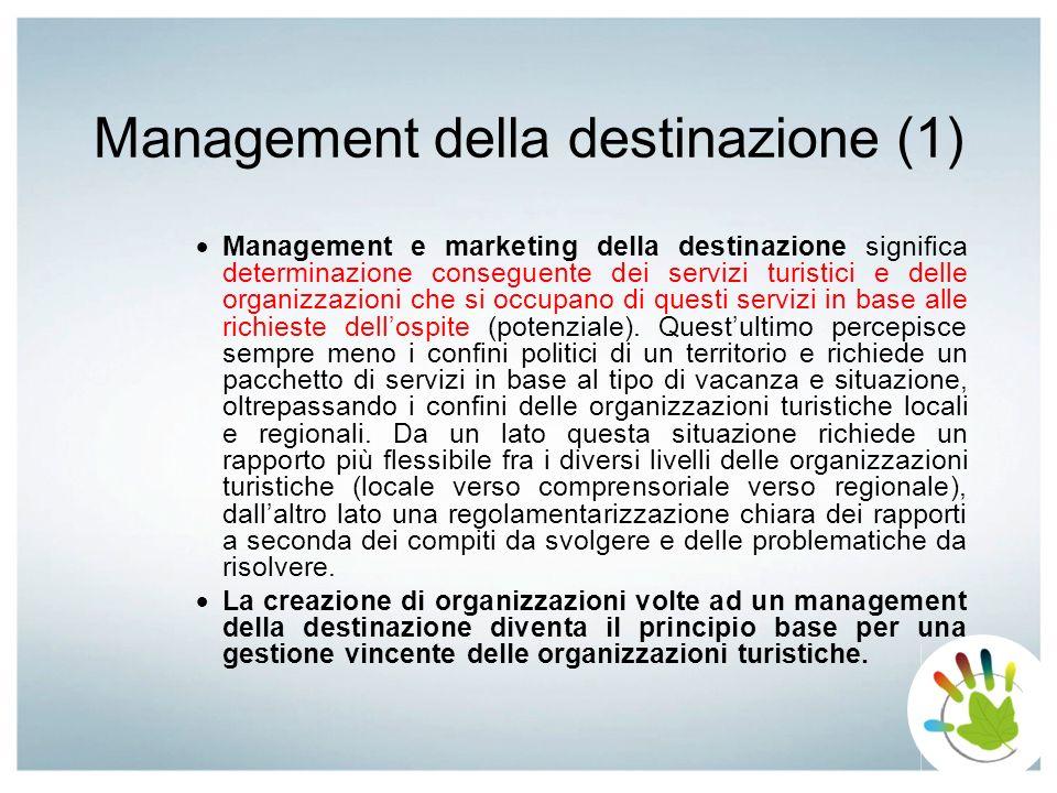 Management della destinazione (1) Management e marketing della destinazione significa determinazione conseguente dei servizi turistici e delle organiz