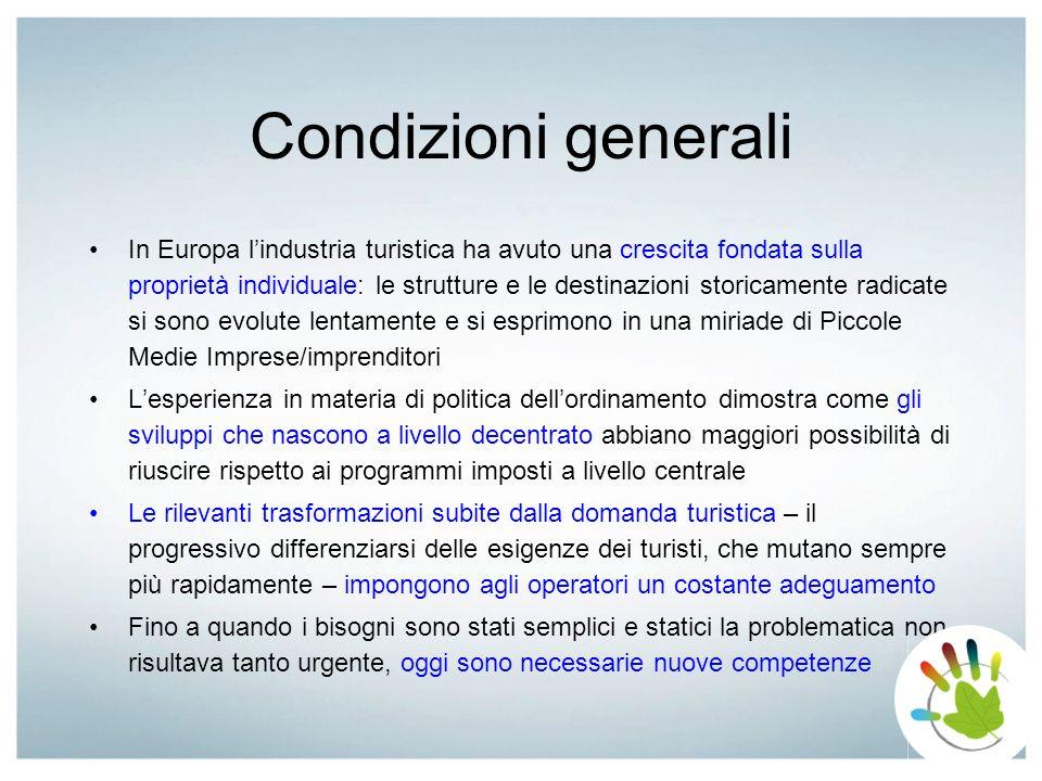 Condizioni generali In Europa lindustria turistica ha avuto una crescita fondata sulla proprietà individuale: le strutture e le destinazioni storicame
