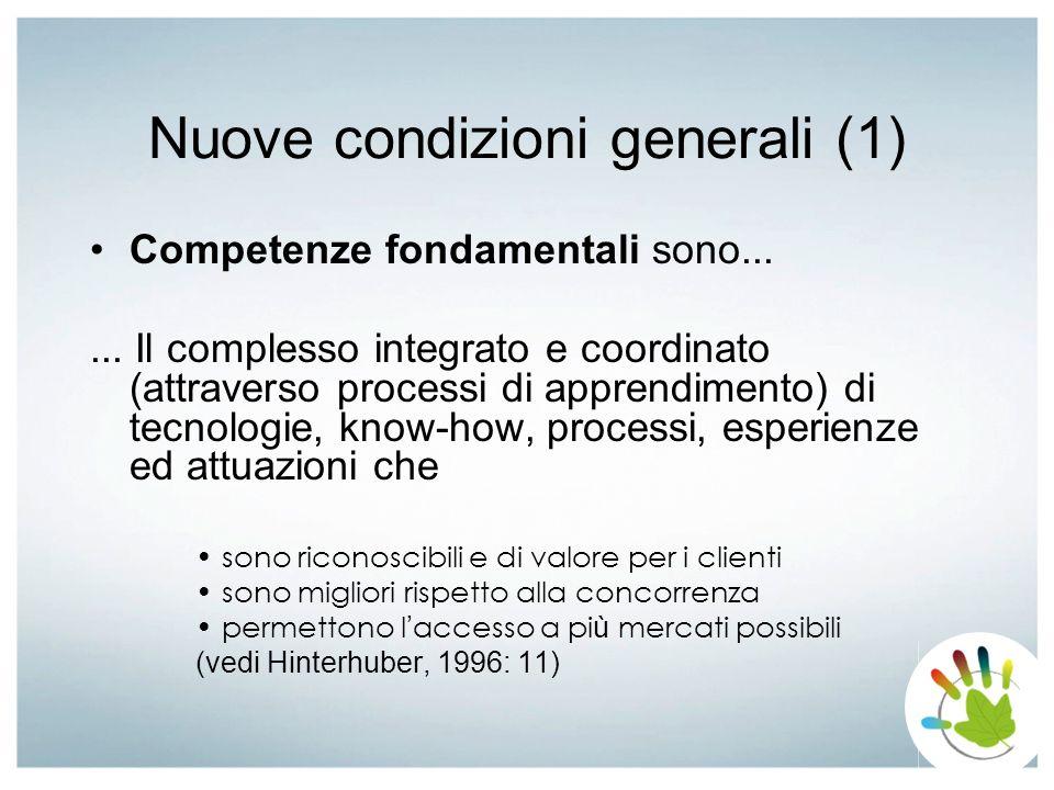 Nuove condizioni generali (1) Competenze fondamentali sono...... Il complesso integrato e coordinato (attraverso processi di apprendimento) di tecnolo