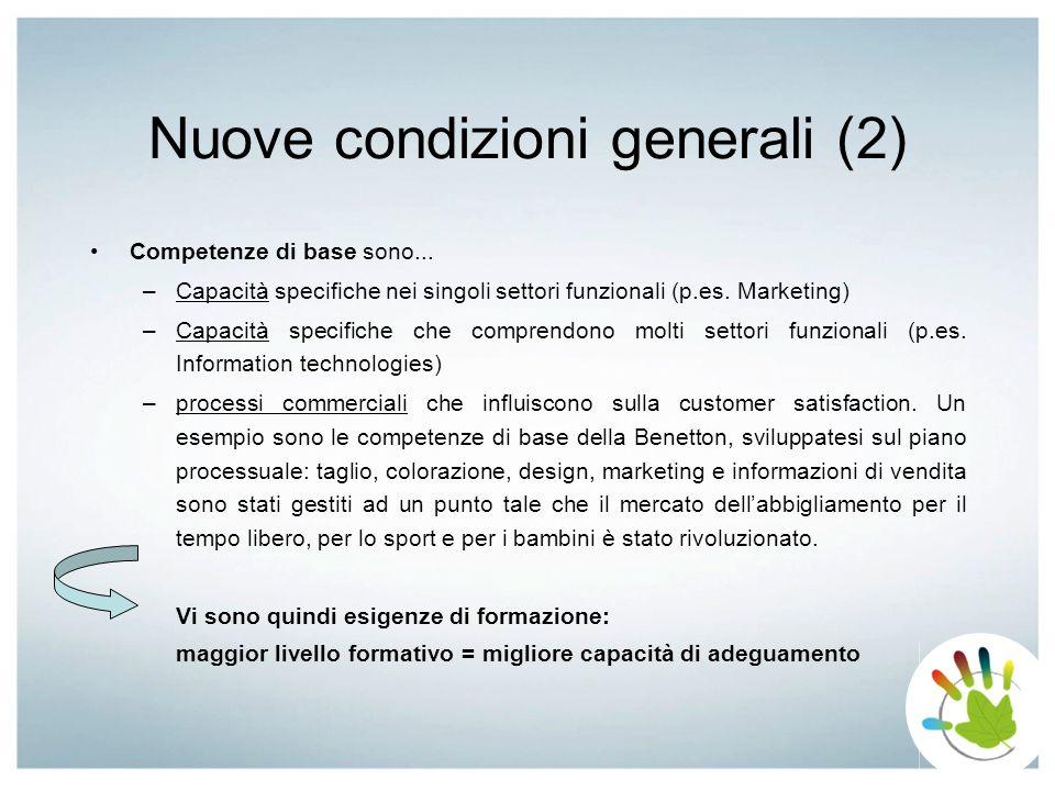 Nuove condizioni generali (2) Competenze di base sono... –Capacità specifiche nei singoli settori funzionali (p.es. Marketing) –Capacità specifiche ch