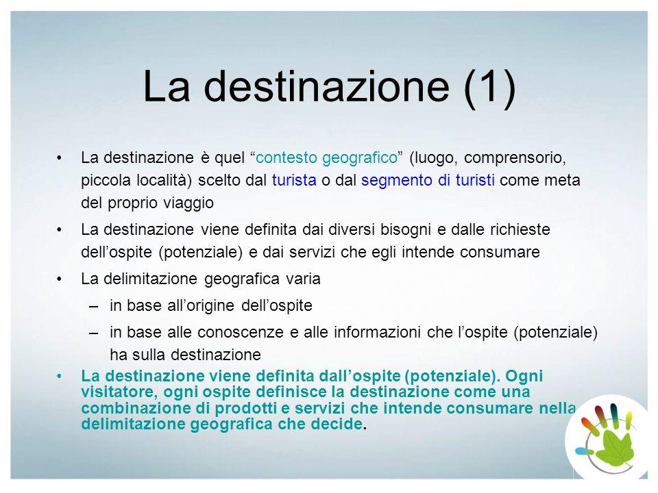 La destinazione (1) La destinazione è quel contesto geografico (luogo, comprensorio, piccola località) scelto dal turista o dal segmento di turisti co