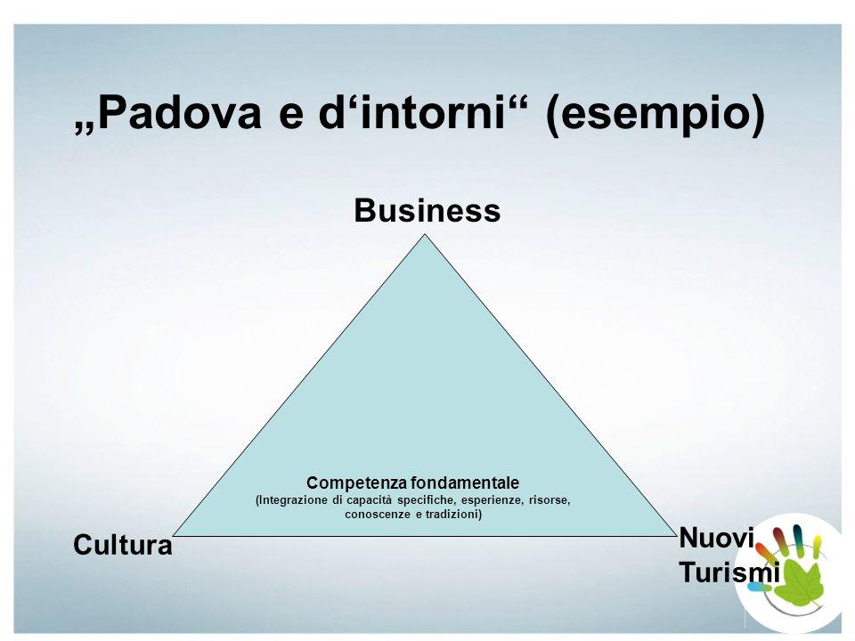 Competenze fondamentali nella Provincia di Padova (esempio) Salute/Benessere Cultura Natura Business Nuovi Turismi Competenze fondamentali Padova Competenze fondamentali Terme …… = Base per la creazione di Prodotti Complementari