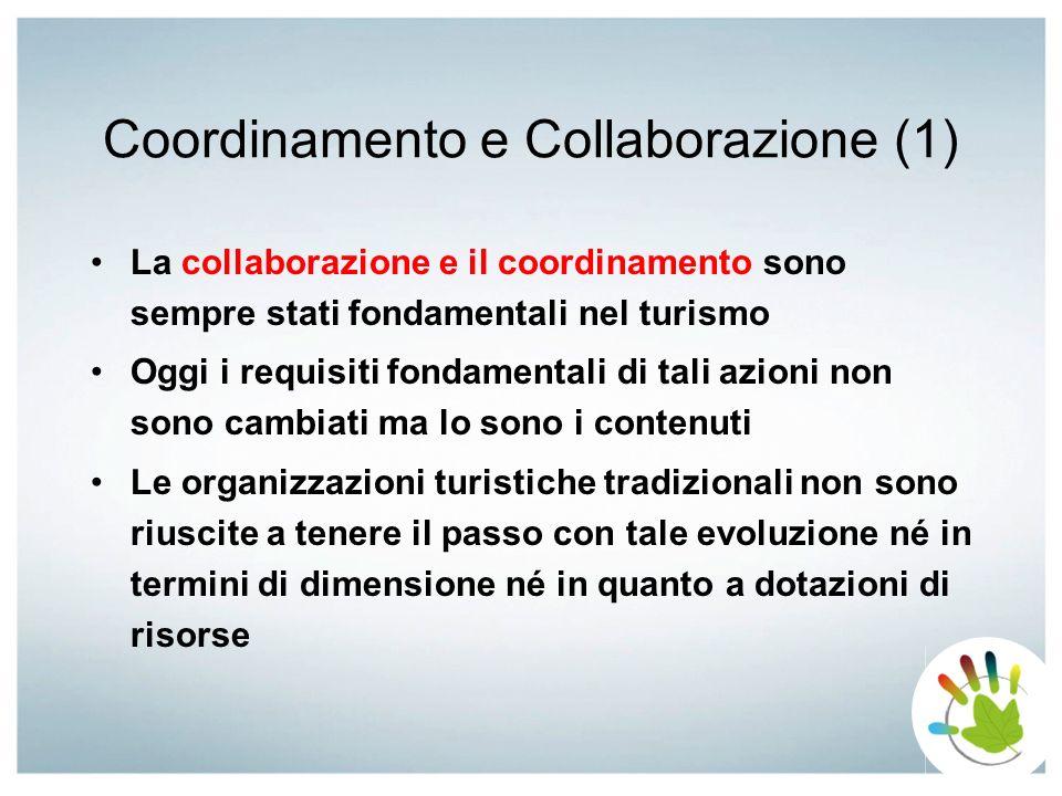 Coordinamento e Collaborazione (1) La collaborazione e il coordinamento sono sempre stati fondamentali nel turismo Oggi i requisiti fondamentali di ta
