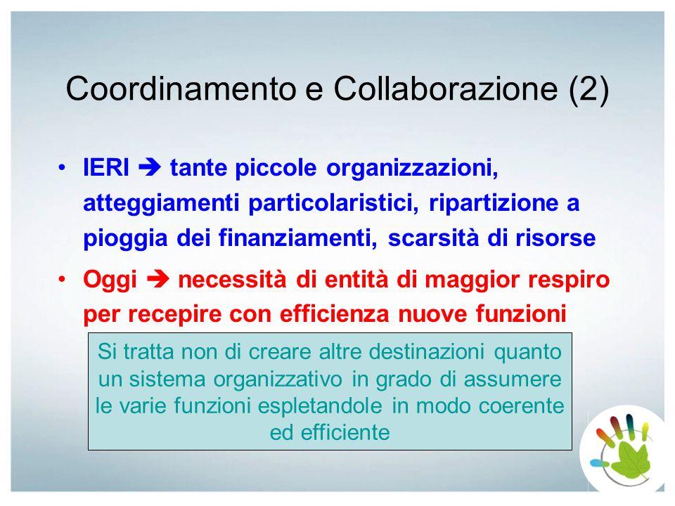 Coordinamento e Collaborazione (2) IERI tante piccole organizzazioni, atteggiamenti particolaristici, ripartizione a pioggia dei finanziamenti, scarsi