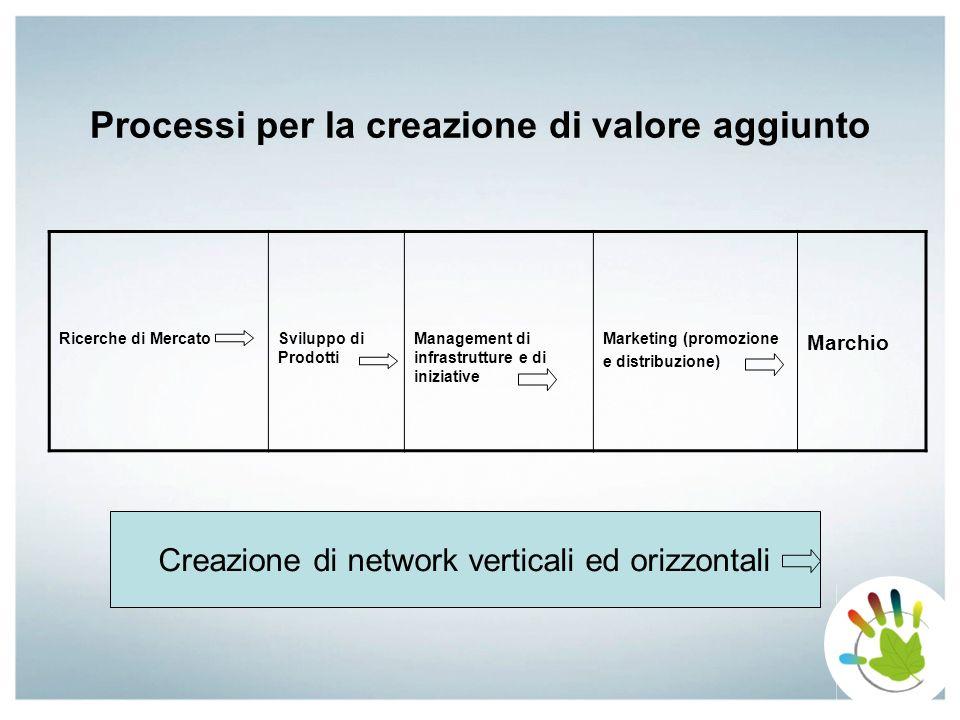 Processi per la creazione di valore aggiunto Ricerche di MercatoSviluppo di Prodotti Management di infrastrutture e di iniziative Marketing (promozion