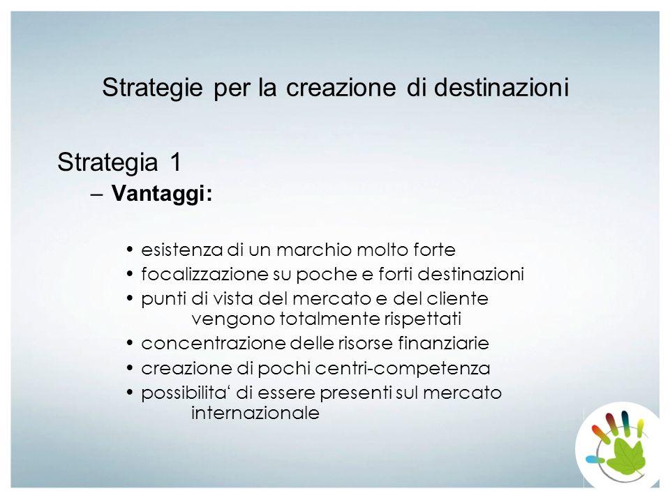 Strategie per la creazione di destinazioni Strategia 1 –Svantaggi: scarsa considerazione di localit à con un potenziale di destinazione meno forte perdita di risorse scarsa motivazione in quelle localit à che vengono prese meno in considerazione