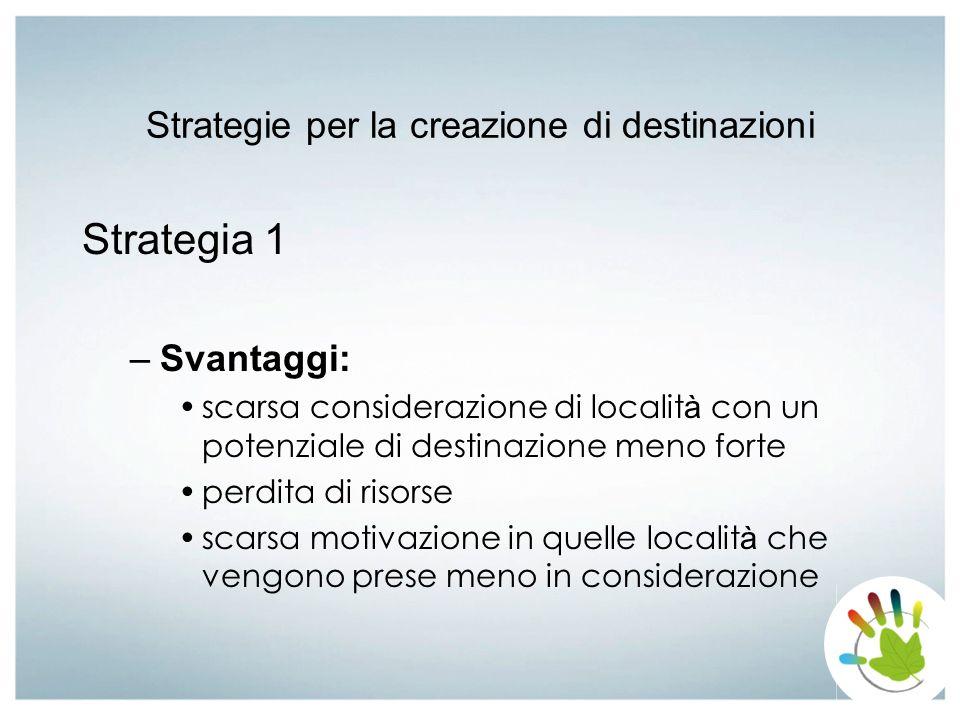 Strategie per la creazione di destinazioni Strategia 1 –Svantaggi: scarsa considerazione di localit à con un potenziale di destinazione meno forte per