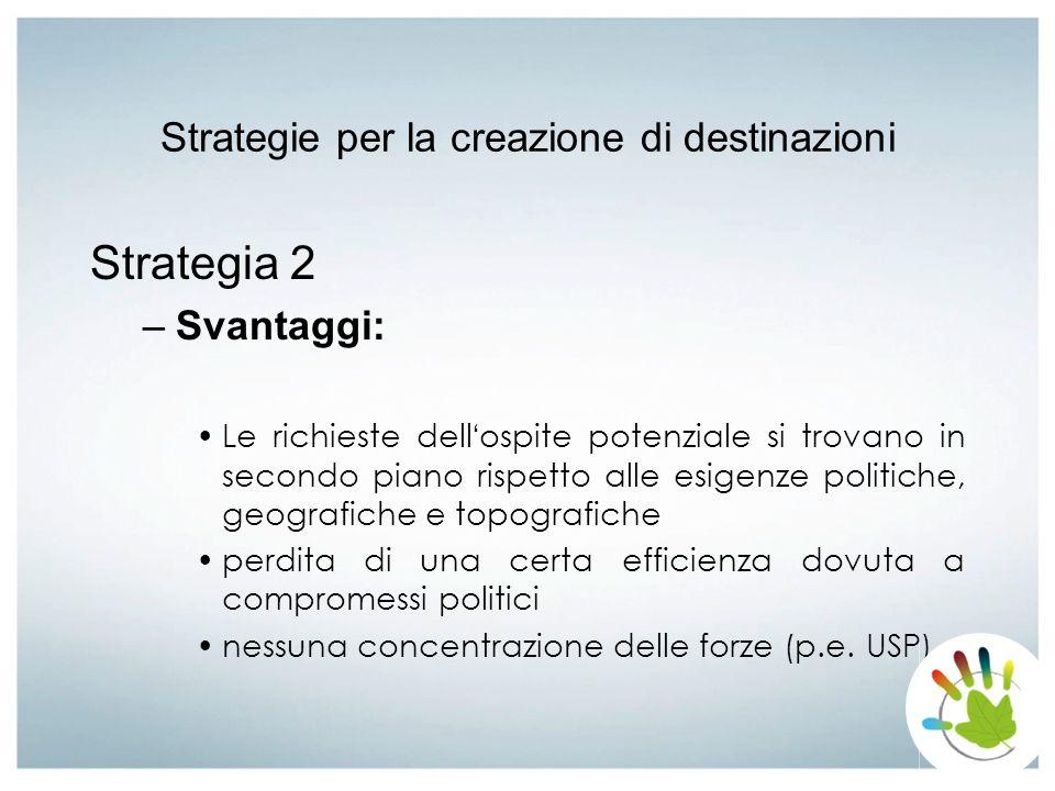 Strategie per la creazione di destinazioni Strategia 2 –Svantaggi: Le richieste dell ospite potenziale si trovano in secondo piano rispetto alle esige