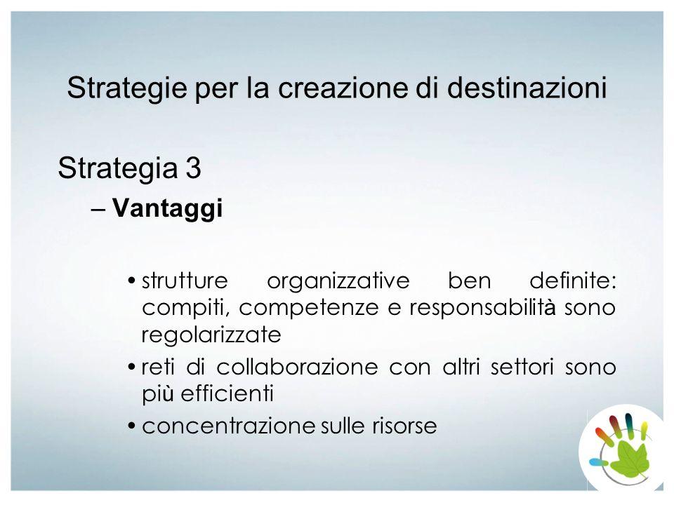 Strategie per la creazione di destinazioni Strategia 3 –Vantaggi strutture organizzative ben definite: compiti, competenze e responsabilit à sono rego