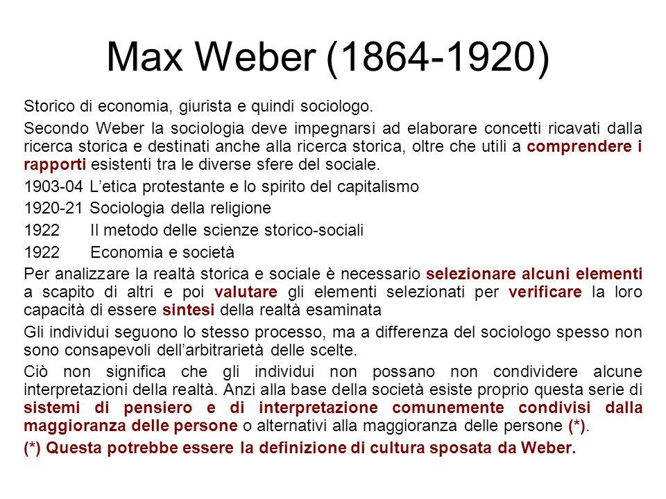 Storico di economia, giurista e quindi sociologo. Secondo Weber la sociologia deve impegnarsi ad elaborare concetti ricavati dalla ricerca storica e d