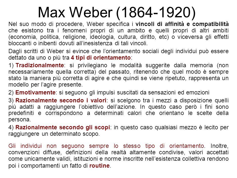 Max Weber (1864-1920) Nel suo modo di procedere, Weber specifica i vincoli di affinità e compatibilità che esistono tra i fenomeni propri di un ambito