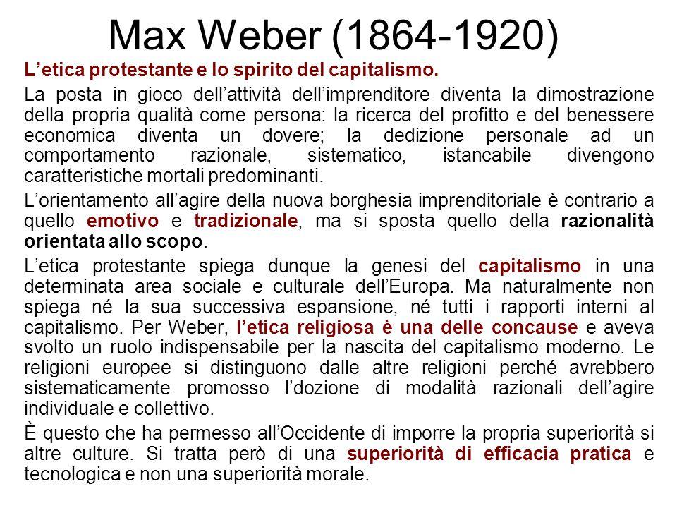 Max Weber (1864-1920) Letica protestante e lo spirito del capitalismo. La posta in gioco dellattività dellimprenditore diventa la dimostrazione della