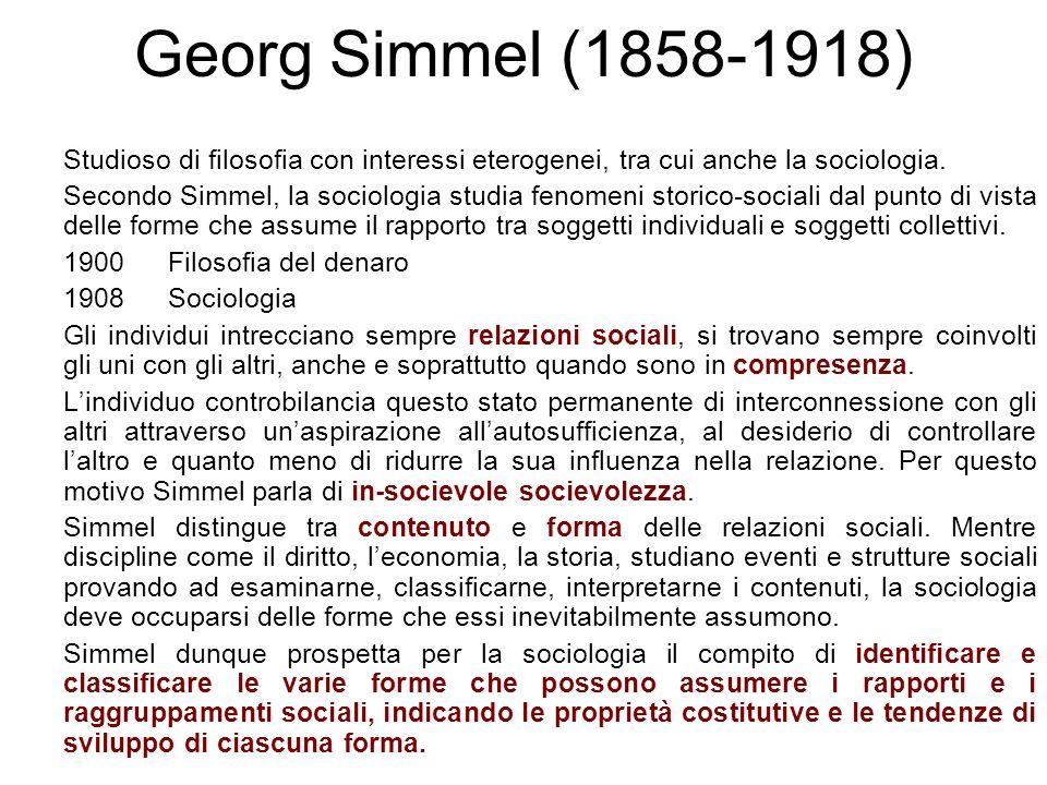 Studioso di filosofia con interessi eterogenei, tra cui anche la sociologia. Secondo Simmel, la sociologia studia fenomeni storico-sociali dal punto d