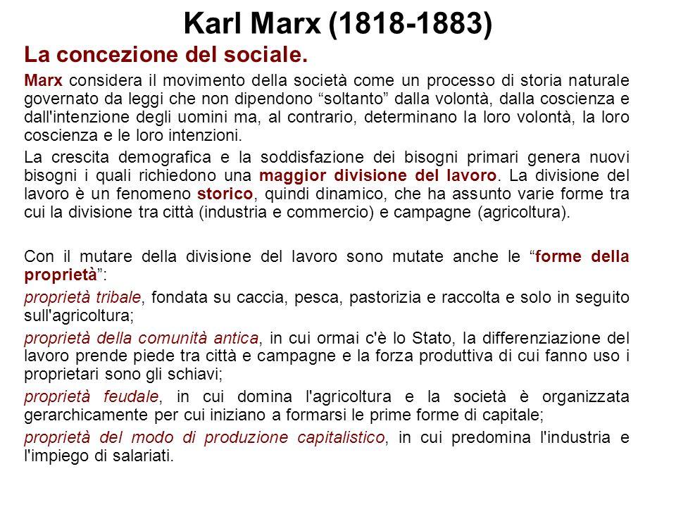 Karl Marx (1818-1883) La concezione del sociale.