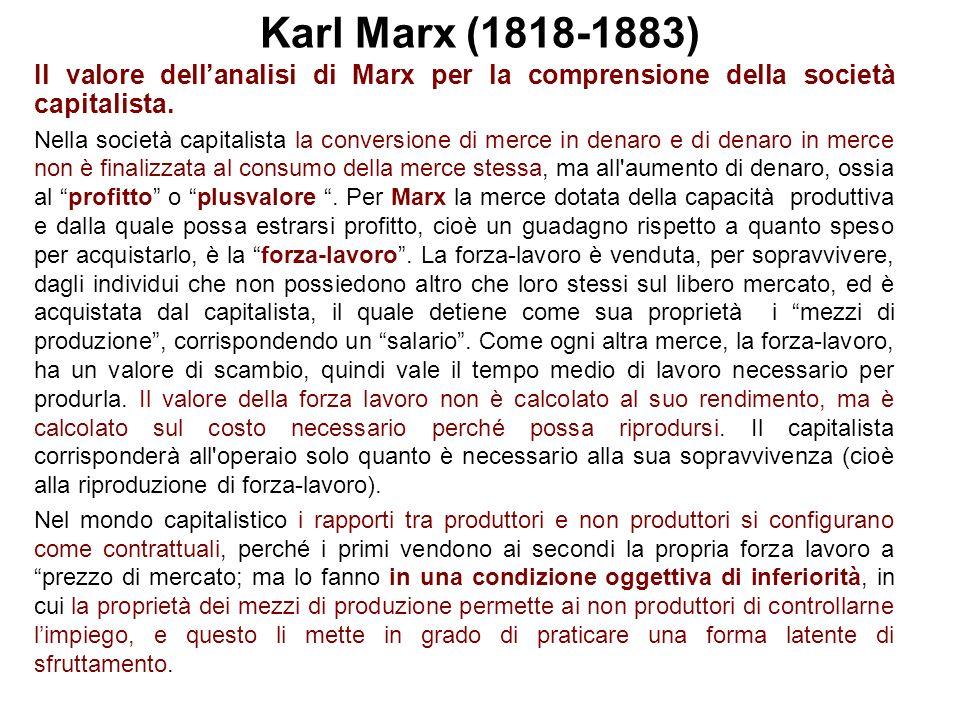 Karl Marx (1818-1883) Il valore dellanalisi di Marx per la comprensione della società capitalista.