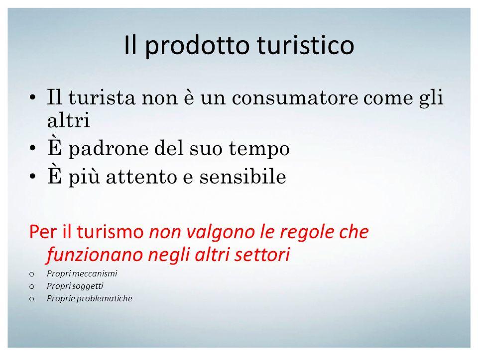 Il prodotto turistico Il turista non è un consumatore come gli altri È padrone del suo tempo È più attento e sensibile Per il turismo non valgono le r