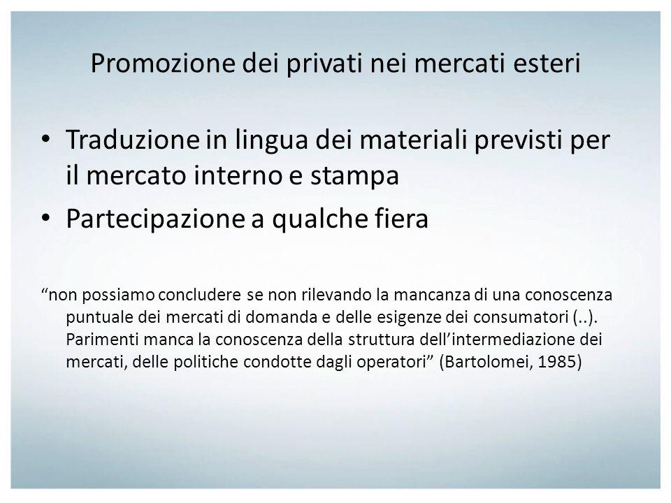 Promozione dei privati nei mercati esteri Traduzione in lingua dei materiali previsti per il mercato interno e stampa Partecipazione a qualche fiera n