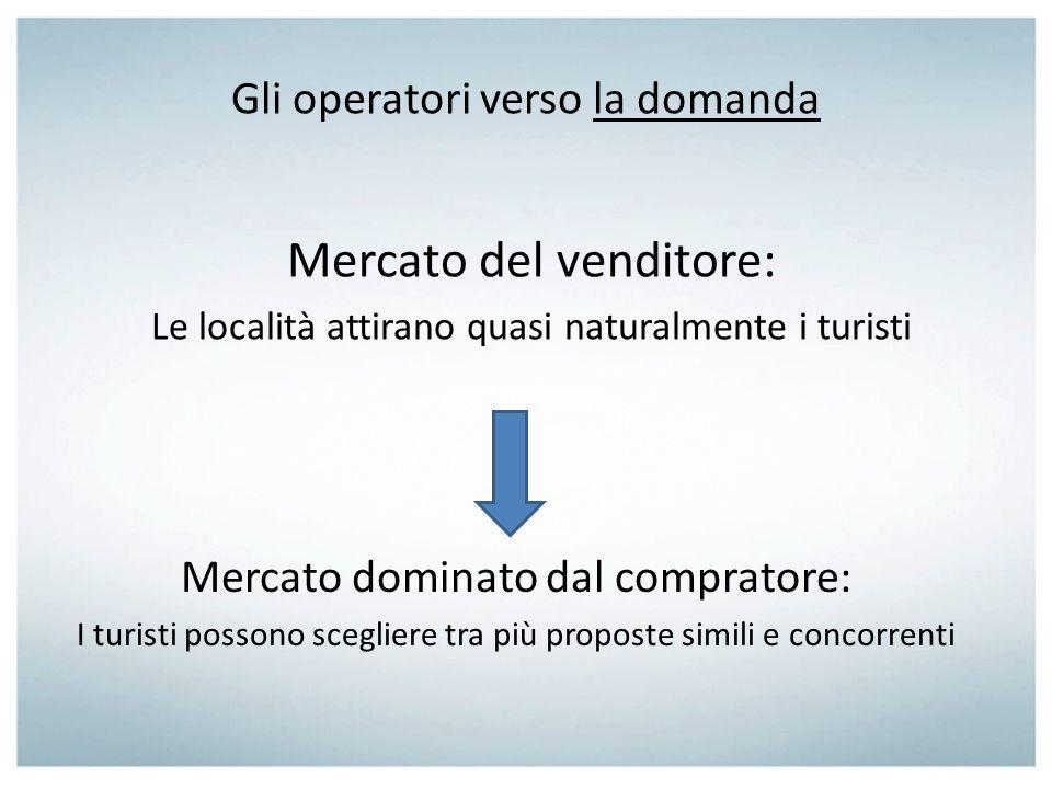 Gli operatori verso la domanda Mercato del venditore: Le località attirano quasi naturalmente i turisti Mercato dominato dal compratore: I turisti pos