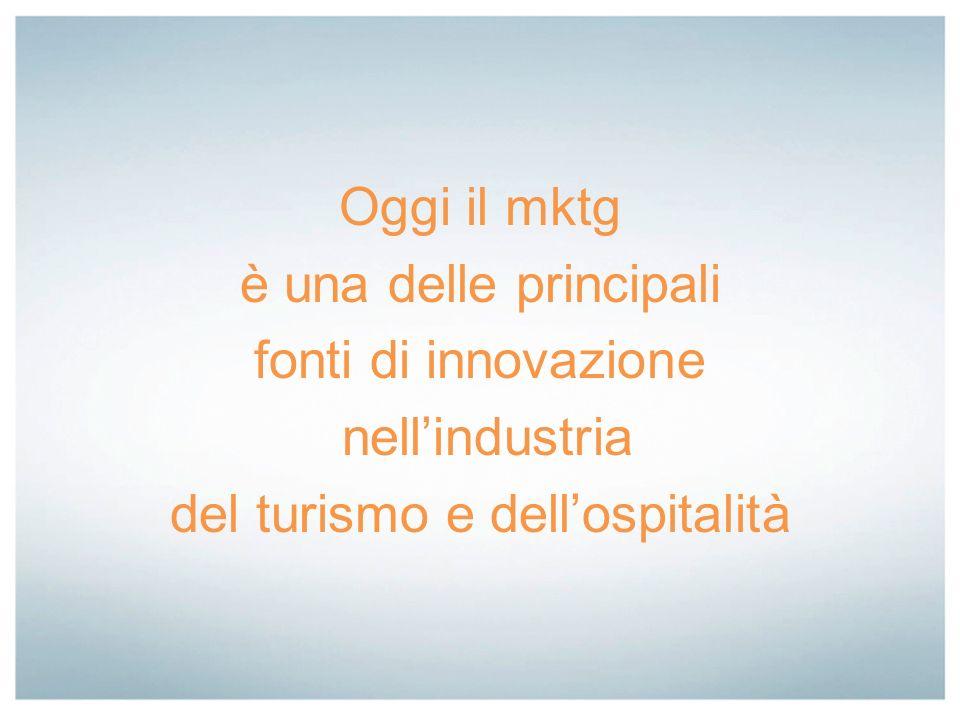 Oggi il mktg è una delle principali fonti di innovazione nellindustria del turismo e dellospitalità