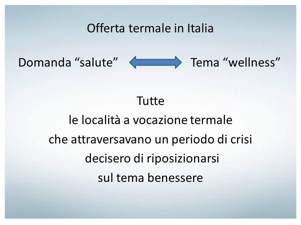 Offerta termale in Italia Domanda salute Tema wellness Tutte le località a vocazione termale che attraversavano un periodo di crisi decisero di riposi