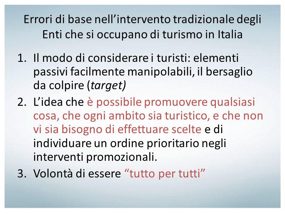 Errori di base nellintervento tradizionale degli Enti che si occupano di turismo in Italia 1.Il modo di considerare i turisti: elementi passivi facilm
