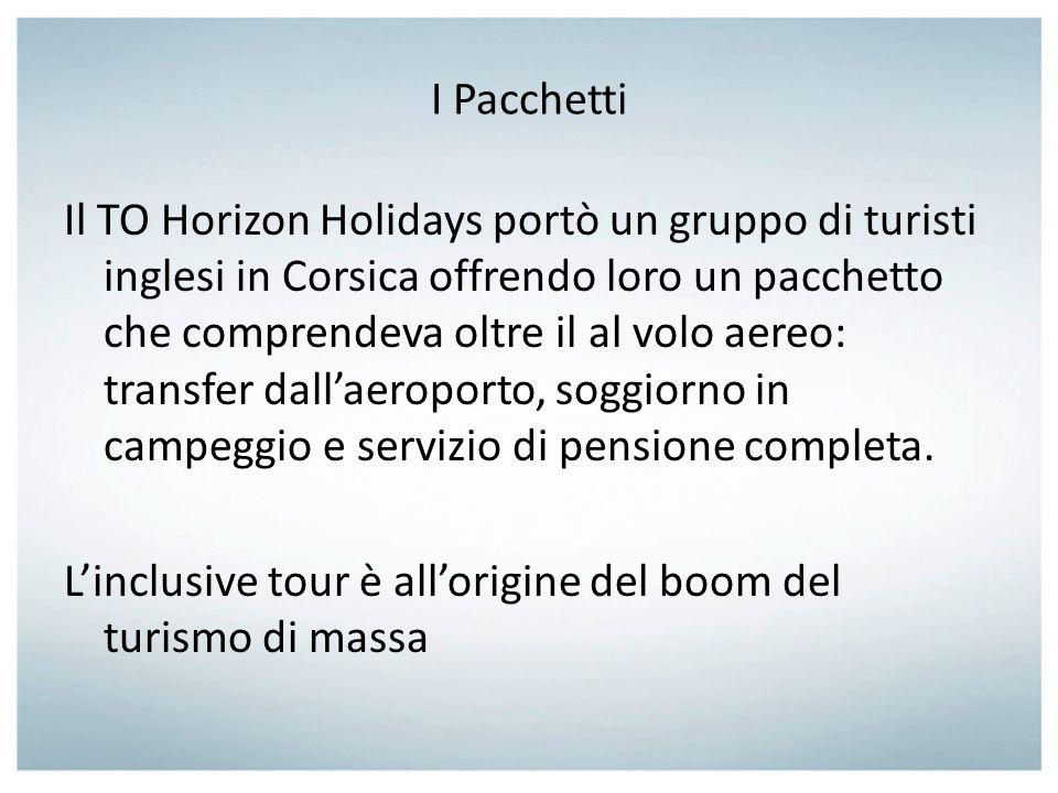 I Pacchetti Il TO Horizon Holidays portò un gruppo di turisti inglesi in Corsica offrendo loro un pacchetto che comprendeva oltre il al volo aereo: tr