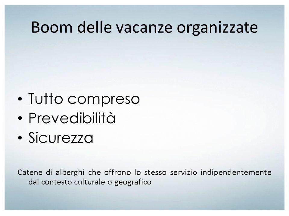 Boom delle vacanze organizzate Tutto compreso Prevedibilità Sicurezza Catene di alberghi che offrono lo stesso servizio indipendentemente dal contesto