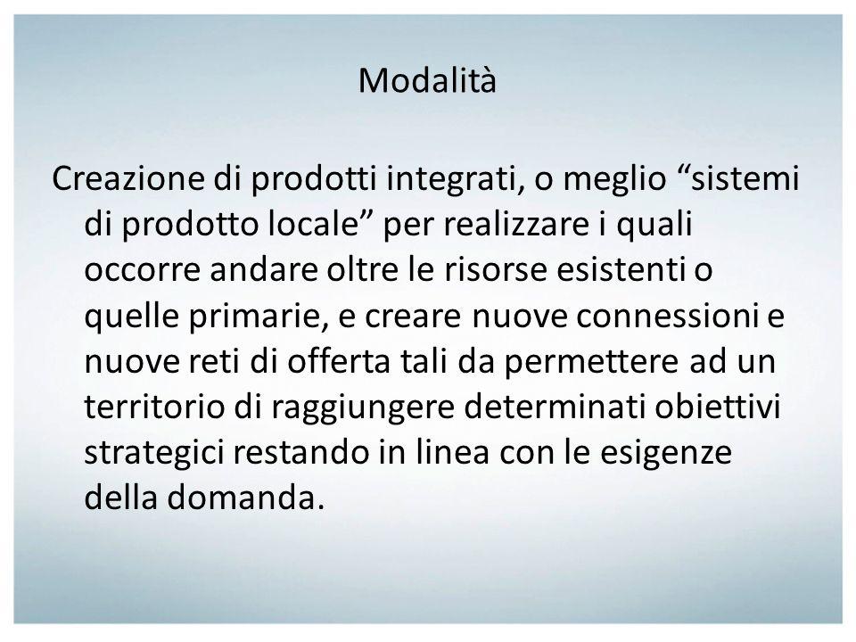 Modalità Creazione di prodotti integrati, o meglio sistemi di prodotto locale per realizzare i quali occorre andare oltre le risorse esistenti o quell
