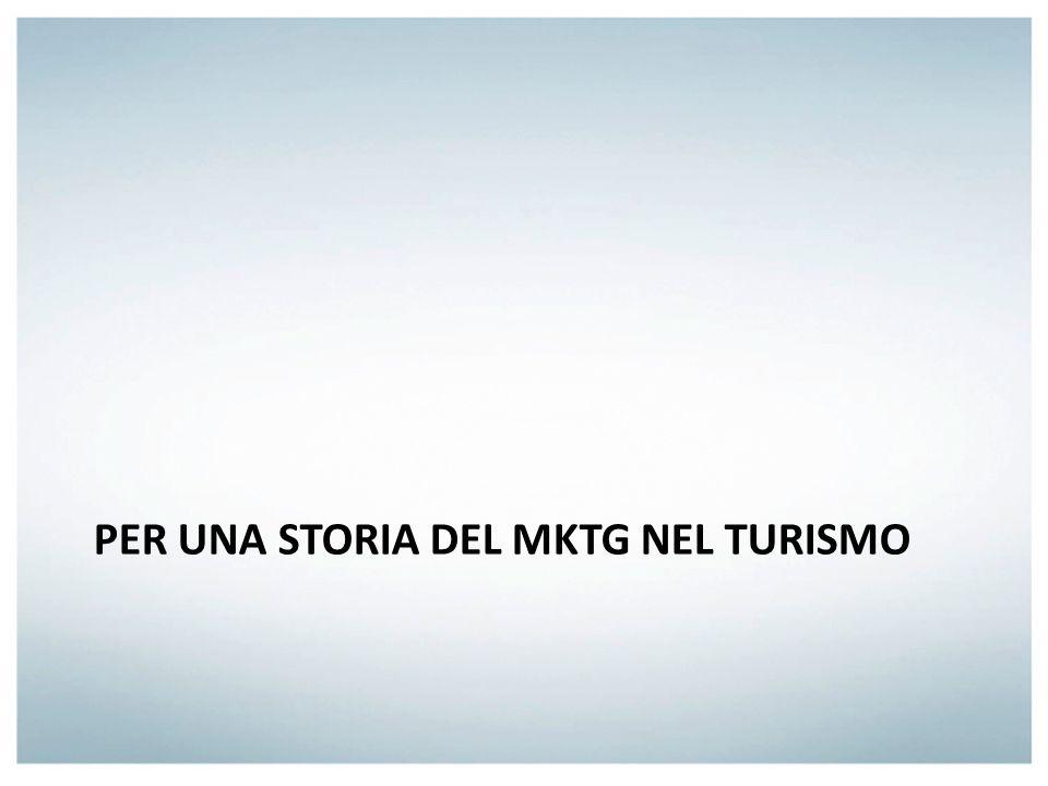 > II^ metà degli anni 70 Primi passi del mktg nel turismo italiano Debolezza culturale storica dellapproccio al turismo in Italia Adeguamento della disciplina al campo turistico