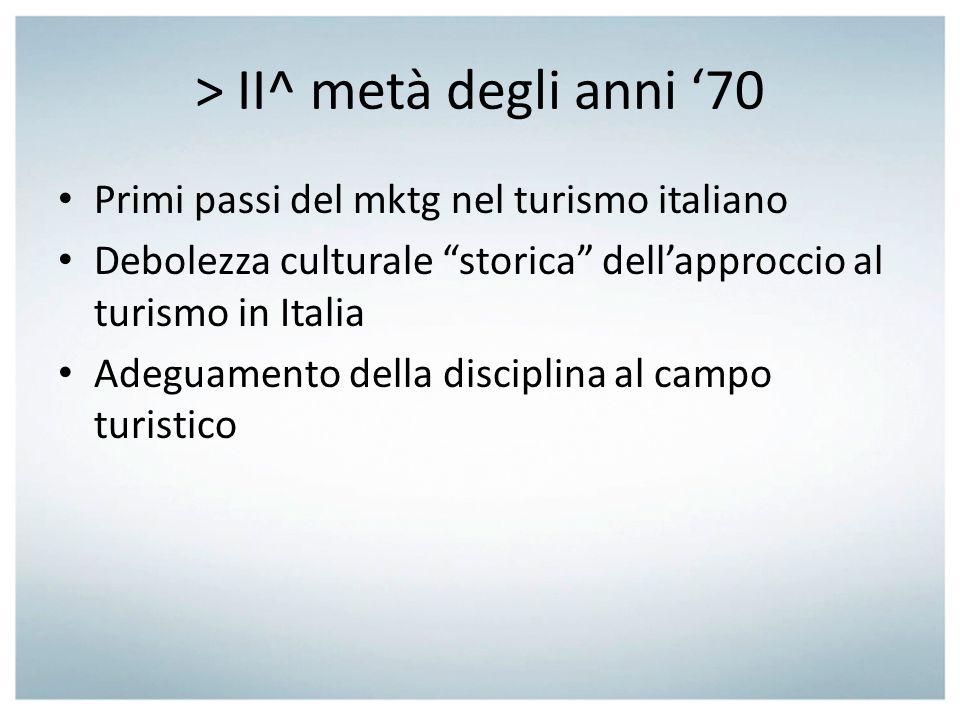 1988: piano di mktg turistico Piano caratterizzato metodologicamente dai momenti della: o Ricerca; o Segmentazione; o Individuazione degli obiettivi e delle priorità; o Individuazione delle diverse strategie percorribili per il raggiungimento degli obiettivi; o Verifica dei risultati