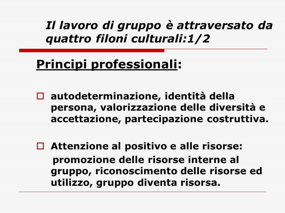 Il lavoro di gruppo è attraversato da quattro filoni culturali:1/2 Principi professionali: autodeterminazione, identità della persona, valorizzazione delle diversità e accettazione, partecipazione costruttiva.