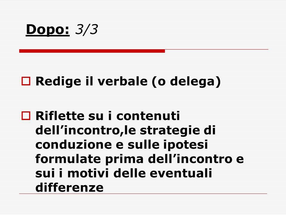 Dopo: 3/3 Redige il verbale (o delega) Riflette su i contenuti dellincontro,le strategie di conduzione e sulle ipotesi formulate prima dellincontro e sui i motivi delle eventuali differenze