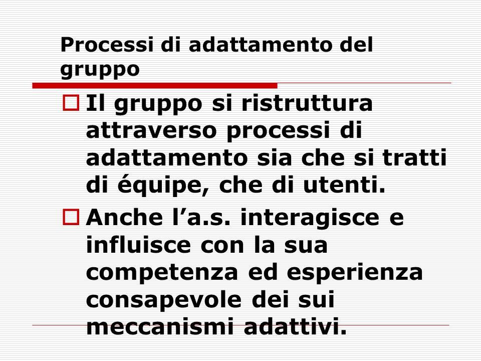 Processi di adattamento del gruppo Il gruppo si ristruttura attraverso processi di adattamento sia che si tratti di équipe, che di utenti.