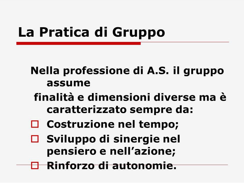 La Pratica di Gruppo Nella professione di A.S.