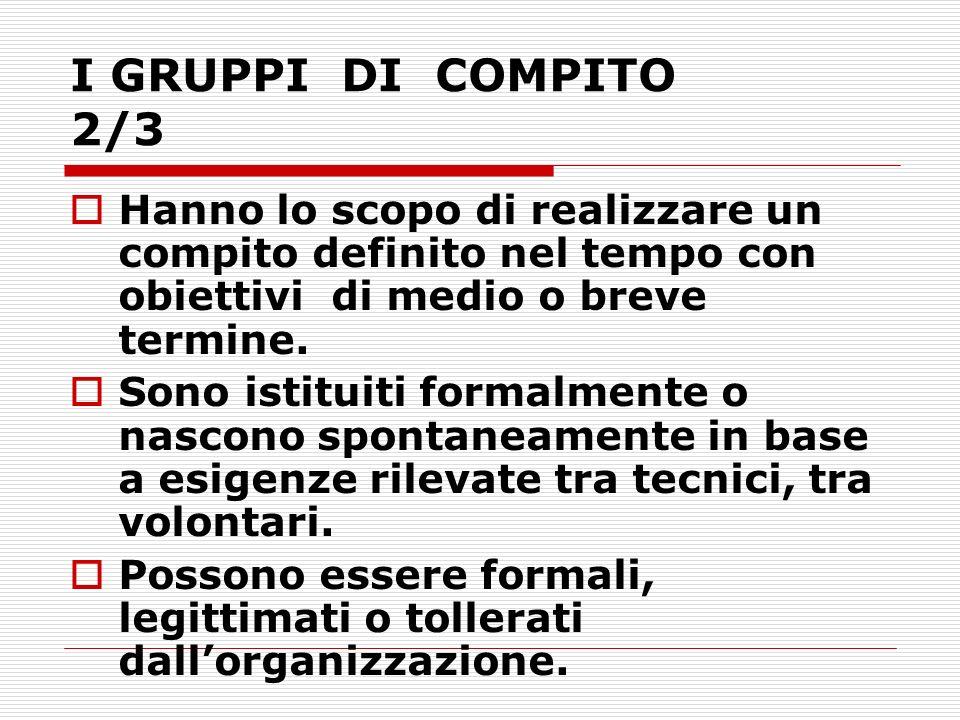 I GRUPPI DI COMPITO 2/3 Hanno lo scopo di realizzare un compito definito nel tempo con obiettivi di medio o breve termine.