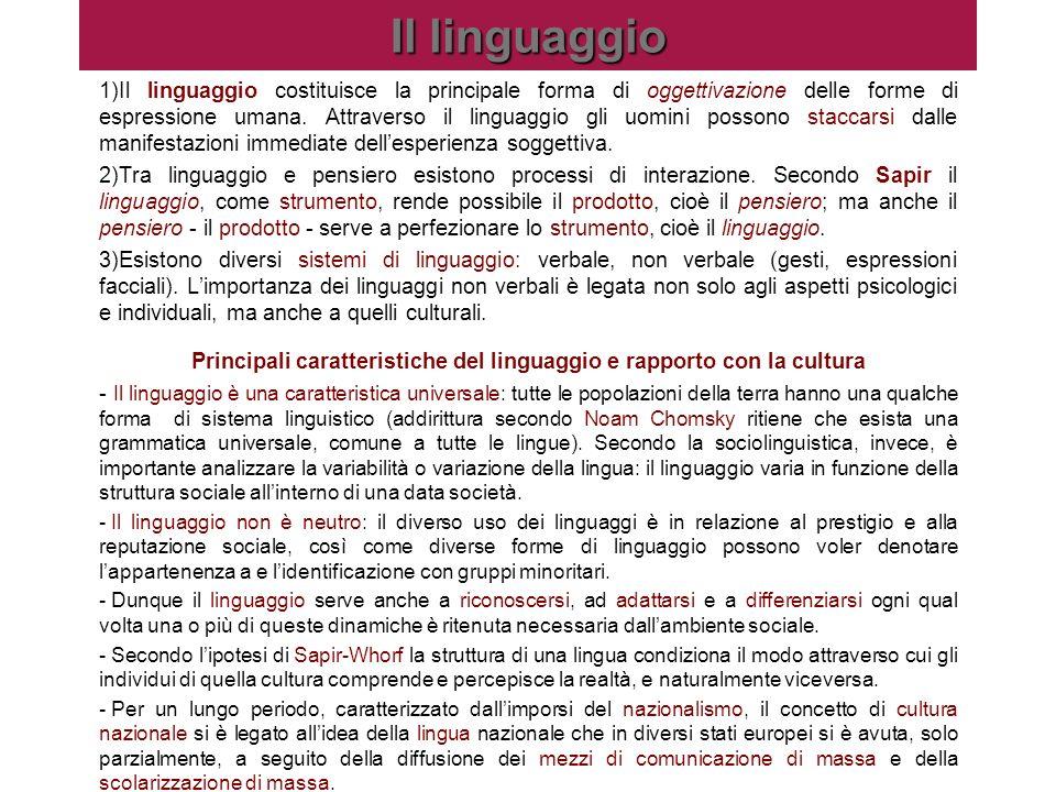 Il linguaggio 1)Il linguaggio costituisce la principale forma di oggettivazione delle forme di espressione umana. Attraverso il linguaggio gli uomini