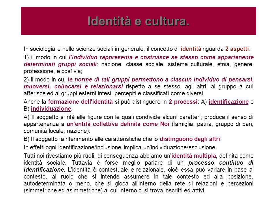 In sociologia e nelle scienze sociali in generale, il concetto di identità riguarda 2 aspetti: 1) il modo in cui l'individuo rappresenta e costruisce