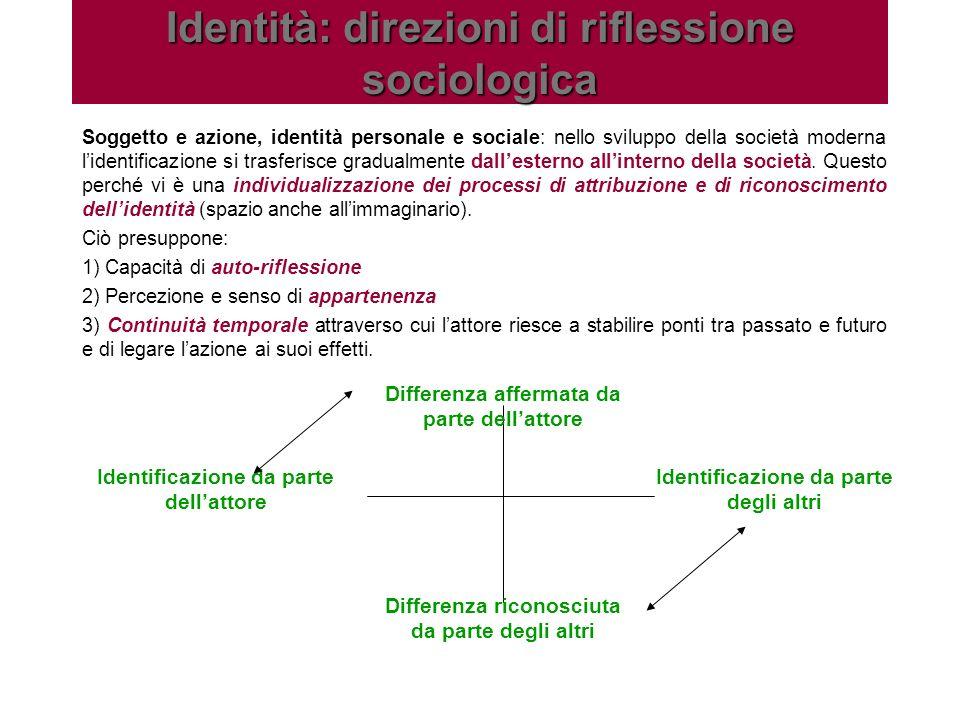 Identità: direzioni di riflessione sociologica Soggetto e azione, identità personale e sociale: nello sviluppo della società moderna lidentificazione