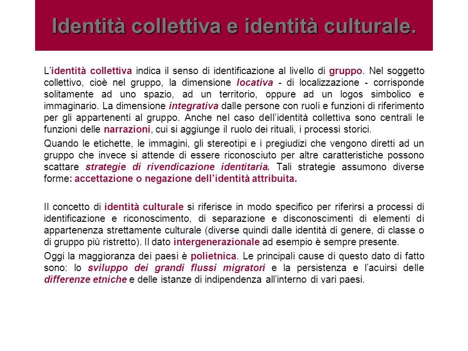 Lidentità collettiva indica il senso di identificazione al livello di gruppo. Nel soggetto collettivo, cioè nel gruppo, la dimensione locativa - di lo