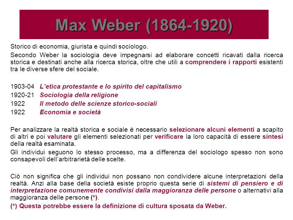 Alla base del concetto di cultura di Weber si evince che lazione individuale si fa sociale, se in quanto un soggetto interpreta più o meno consapevolmente lattività di altri soggetti e viceversa.