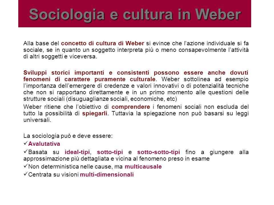 La cultura in Weber Per Weber la cultura è linsieme delle interpretazioni fatte proprie dai gruppi sociali.
