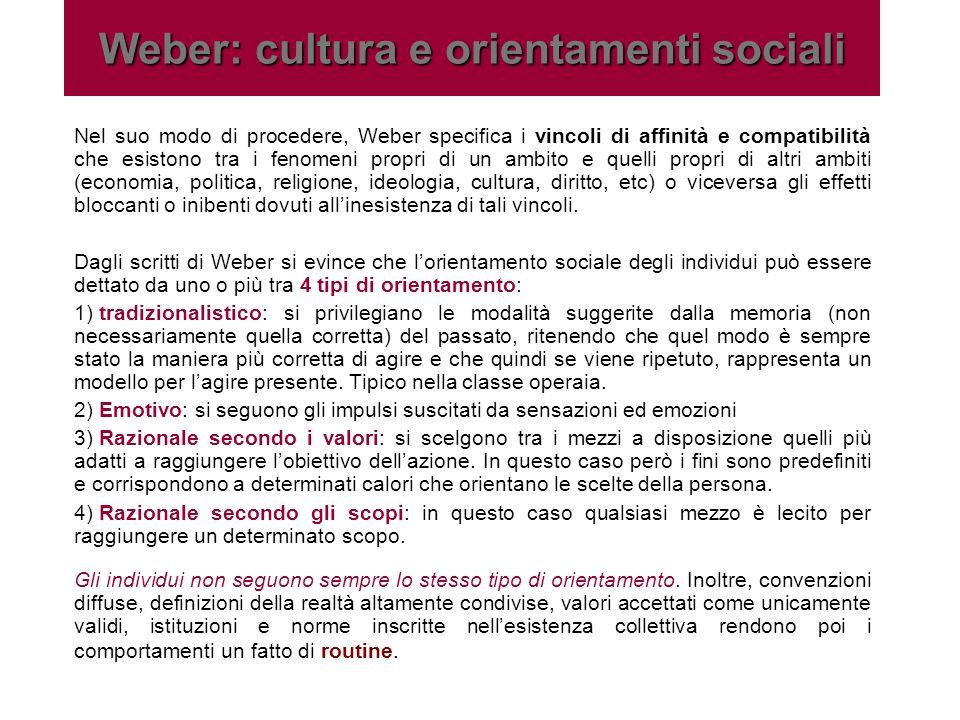 Weber: cultura e orientamenti sociali Nel suo modo di procedere, Weber specifica i vincoli di affinità e compatibilità che esistono tra i fenomeni pro