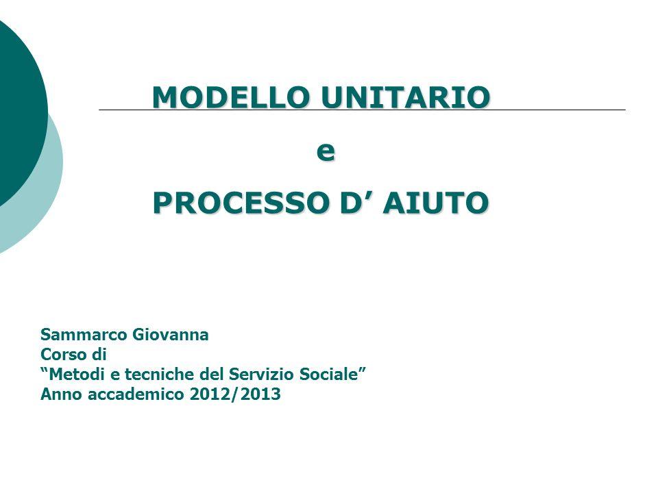 MODELLO UNITARIO e PROCESSO D AIUTO Sammarco Giovanna Corso di Metodi e tecniche del Servizio Sociale Anno accademico 2012/2013